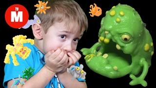 Огромный Лизун спасает Давида от Микробов! МАША из мультик Маша и Медведь МИКРОБЫ Видео для детей