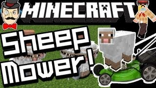 Minecraft SHEEP MOWER ! Carts&Sheep Mow Grass !