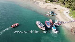 Boats in the Andamans Islands of India: aerial view of Andaman Sea