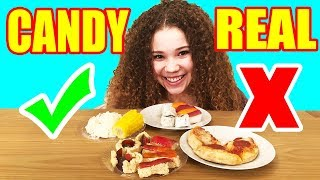 Making FOOD out of CANDY! DIY Edible Candy vs Real Food Challenge