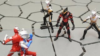 SHODO ULTRAMAN VS6 WORLD FUN ACTION  FIGURE REVIEW ULTRAMAN BELIAL ULTRAMAN ZERO DARK LOPS