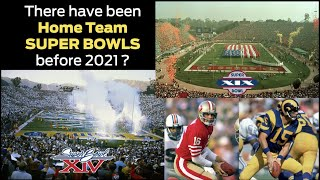 Previous HOME TEAM Super Bowls: every time a team has played a Super Bowl in their home market