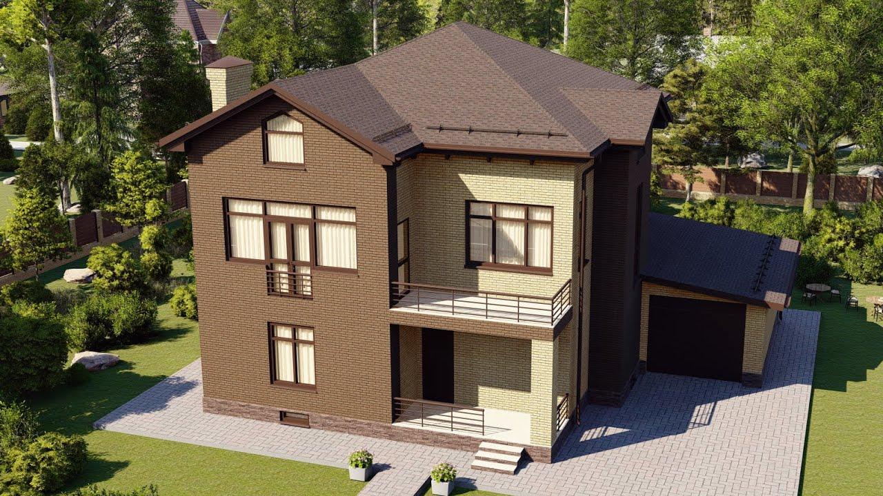 Двухэтажный дом из пеноблока с облицовкой кирпичом