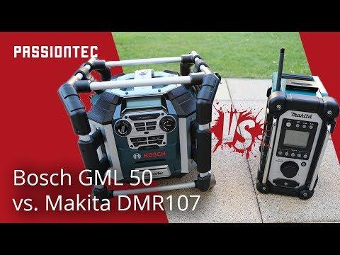 Bosch GML 50 oder Makita DMR107 - Baustellenradio Vergleich