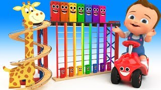 Giraffe Tumbledown Ladder Wooden Toy Set - Learn Colors for Kids Children with Color Toys Education