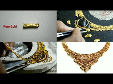 Latest Gold Necklace Design   Jewellery Making   Learn how to make this design   24K Pure Gold
