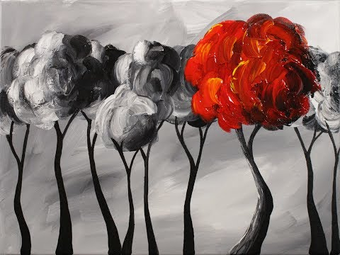 The Happy Tree Step by Step Acrylic Painting on Canvas for Beginners