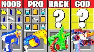 Minecraft Battle: SUPER NERF GUN CRAFTING CHALLENGE - NOOB vs PRO vs HACKER vs GOD ~ Animation