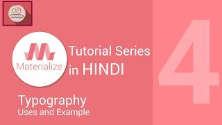 Materialize css tutorial in hindi - Typography