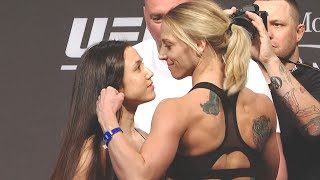 Jamie Moyle vs. Emily Whitmire - Weigh-in Face-Off - (UFC 226: Miocic vs. Cormier) - /r/WMMA