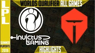IG vs TES Highlights ALL GAMES | LPL Summer 2019 Worlds Qualifier | Invictus Gaming vs TOP Esports