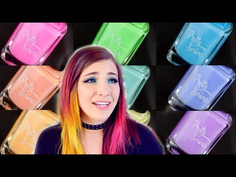 GIANT PASTEL NEON NAIL POLISH SWATCH/REVIEW – Pretty Serious Cosmetics || KELLI MARISSA