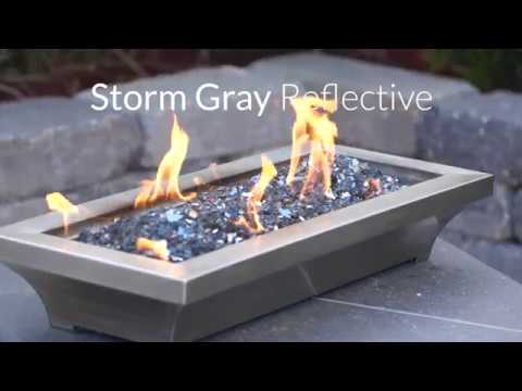 Storm Gray Reflective Fire Glass | Lakeview Outdoor Designs