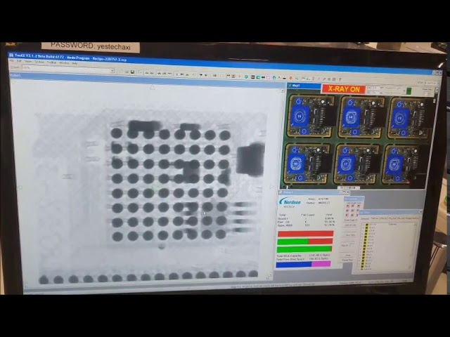 This is a demonstration of the YESTech YTX-X3 3D X-Ray inspecting pcbs in production.