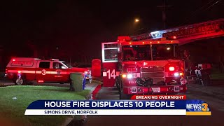 Six adults, four children displaced from Norfolk fire