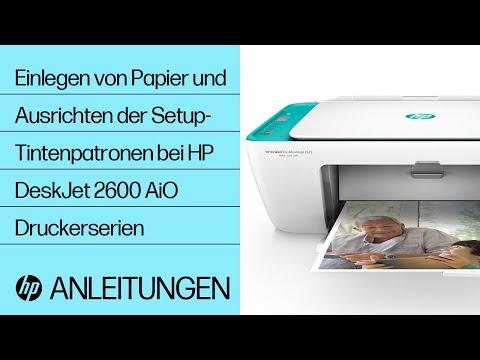 Einlegen von Papier und Ausrichten der Setup-Tintenpatronen bei HP DeskJet 2600 All-in-One Druckerserien