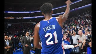 """Joel Embiid is Mic'd Up and Chants """"Fly, Eagles Fly"""" 