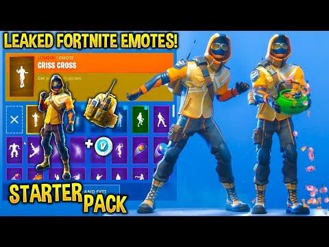 new starter pack skin showcase with fortnite dances emotes - fortnite cobalt starter pack ps4