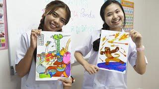 หนังสั้น   ชั่วโมงศิลปะ ภาพระบายสี กังฟูแพนด้า   Kung Fu Panda Coloring Art Hour