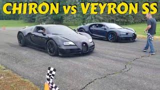 Bugatti Chiron vs. Veyron SS racing on the runway