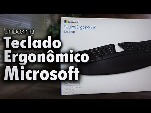 Unboxing e primeiras impressões do teclado ergonômico Microsoft .