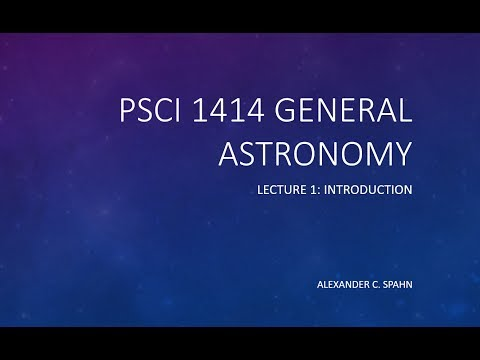 General Astronomy: Lecture 1 - Introduction