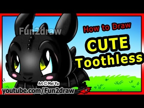 How to Draw Toothless - How to Train Your Dragon - Night Fury - Fun2draw Cartoons