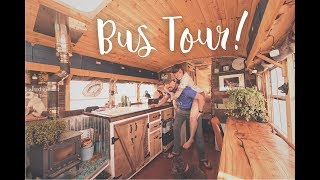 Bus Conversion Tiny House Tour | Off Grid Solar School Bus Home