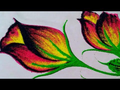 easy flower rangoli design by sangeeta