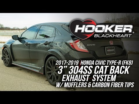 "2017-2019 Honda Civic Type-R (FK8), 3"" 304 SS Cat Back Exhaust With Mufflers & Carbon Fiber Tips"