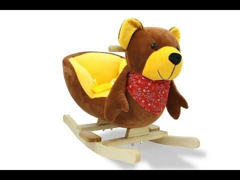 Медведь качалка Schaukeltier Schaukelpferd Schaukelspielzeug Bär Plüsch Holz Wippe Kinder Baby