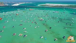 Flying around Crab Island in Destin Florida