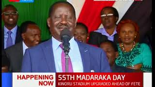 The 'bromance' continues: DP Ruto welcomes Raila Odinga to the podium | #MadarakaDay2018