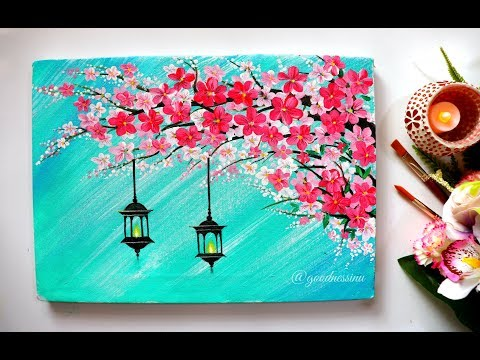 painting a cherry blossom tree wall hanging by goodness in you