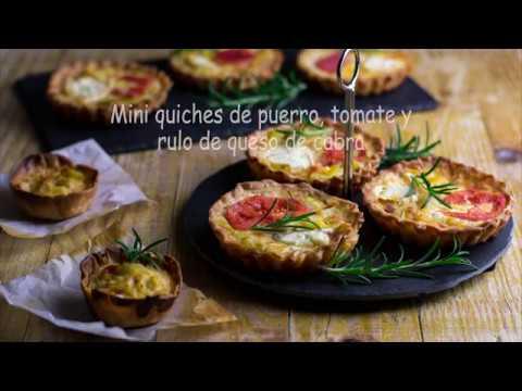 Quiches de puerro, tomate y rulo de queso de cabra, en tamaño mini