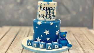1st Birthday Cake | Blue Bear Cake | Star & Blocks Cake