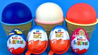 3 Play Doh Ice Cream Cups | Learn Colors Hot Wheels Kinder Surprise Eggs LOL Surprise Toys
