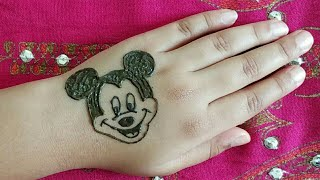 HOW TO DRAW MICKEY MOUSE DESIGN/TATTOO WITH HENNA