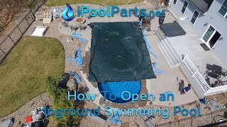 How to Open an Inground Vinyl Liner Swimming Pool that has a Water Bag Cover!