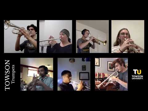 """The Towson University Trumpet Studio, myself on 1st, digitally performing """"The Calling"""" by David Moore."""