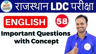 3:00 PM - English for Rajasthan LDC,RAS Exams by Sanjeev Sir|Day#58|Important Questions with Concept