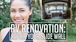 RV Renovation//Water Damage Slide Wall Repair