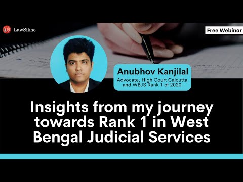 Insights from my journey towards Rank 1 in West Bengal Judicial Services | Anubhov Kanjilal
