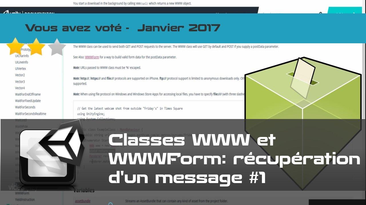 Tuto FR Unity - Récupérer une info depuis un serveur web - Classe WWW