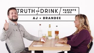 Parents and Kids Play Truth or Drink (AJ & Brandee) | Truth or Drink | Cut