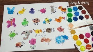 Finger Painting Art | Easy Thumb Painting Animals | Summer Fun Activities For Kids By Arty & Crafty