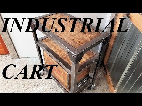 INDUSTRIAL STYLE CART with vintage storage bin