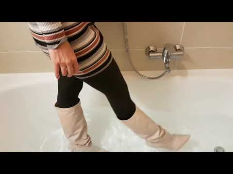 Beige leather boots soaked
