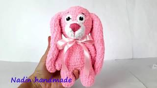 Плюшевый зайчик крючком. Зайка из плюшевой пряжи. Вязаный заяц. Crochet bunny