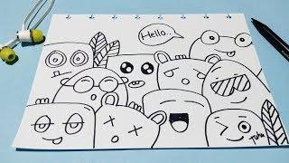 Auto Bisa Gambar | Cute Simple Doodle Art | Speed Doodling | Cara Menggambar Doodle Art Lucu Simple